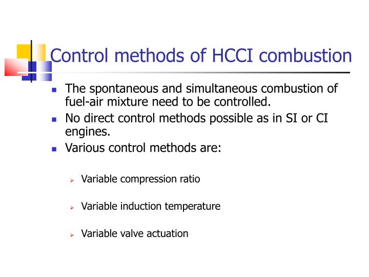 Control methods of HCCI combustion