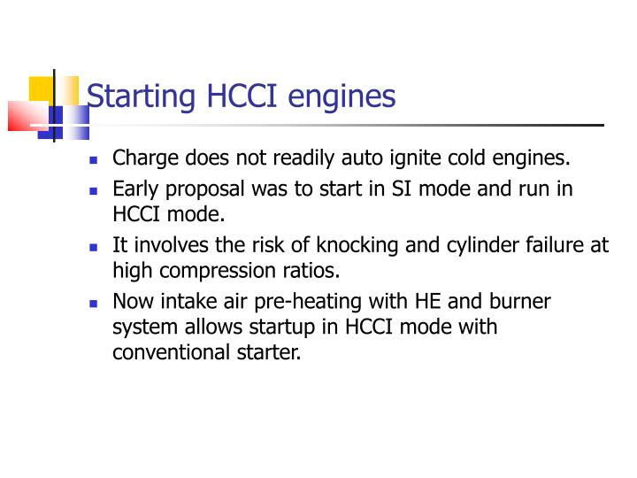 Starting HCCI engines