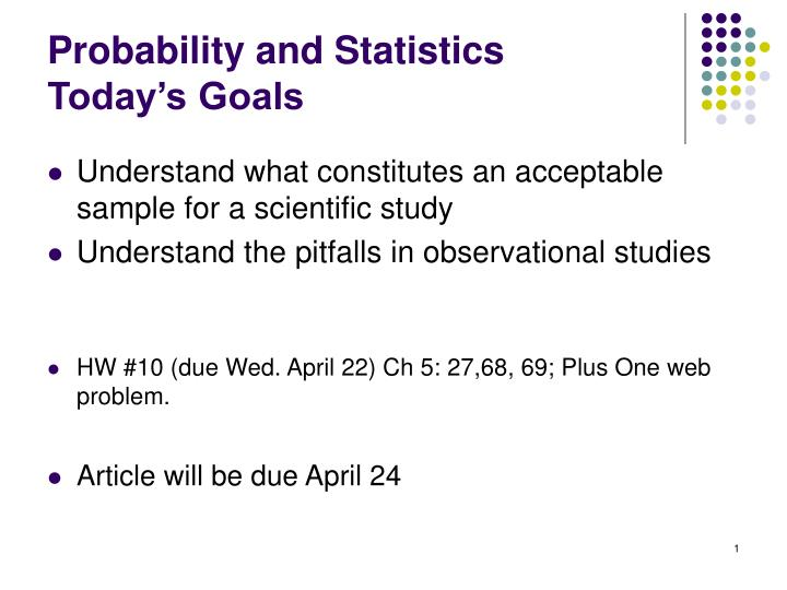 probability and statistics today s goals