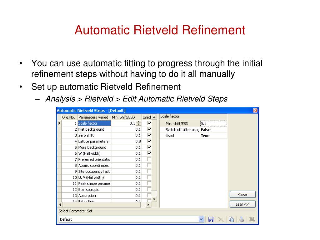 PPT - Fundamentals of Rietveld Refinement II  Refinement of