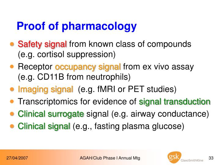 Proof of pharmacology