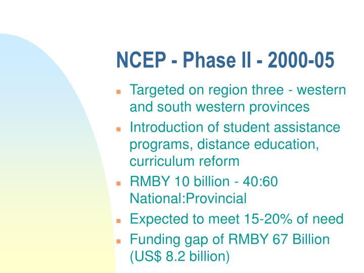 NCEP - Phase II - 2000-05