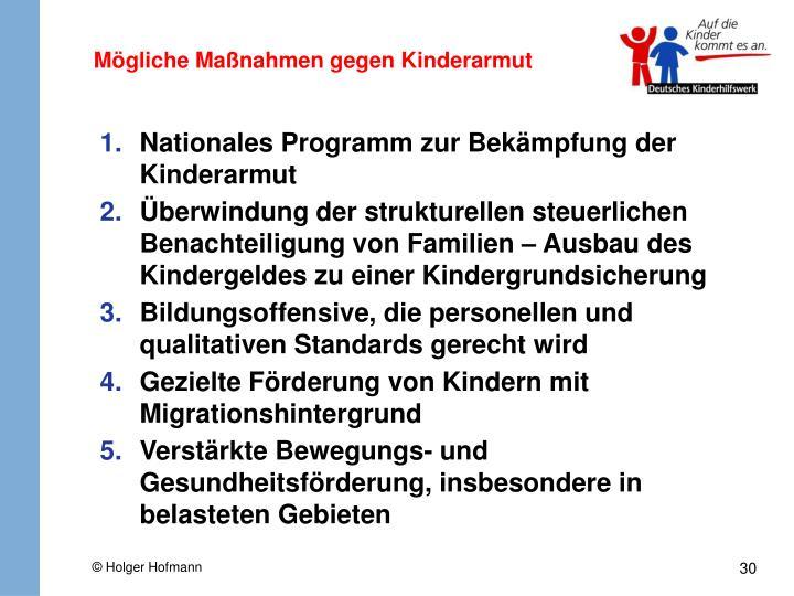Mögliche Maßnahmen gegen Kinderarmut