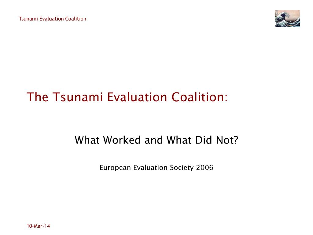 the tsunami evaluation coalition l.