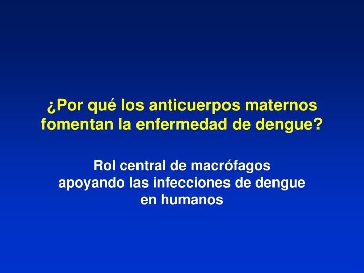 ¿Por qué los anticuerpos maternos fomentan la enfermedad de dengue?