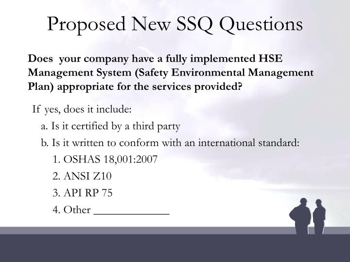 Proposed New SSQ Questions