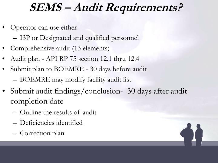 SEMS – Audit Requirements?