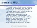 january 21 1829 to president andrew jackson