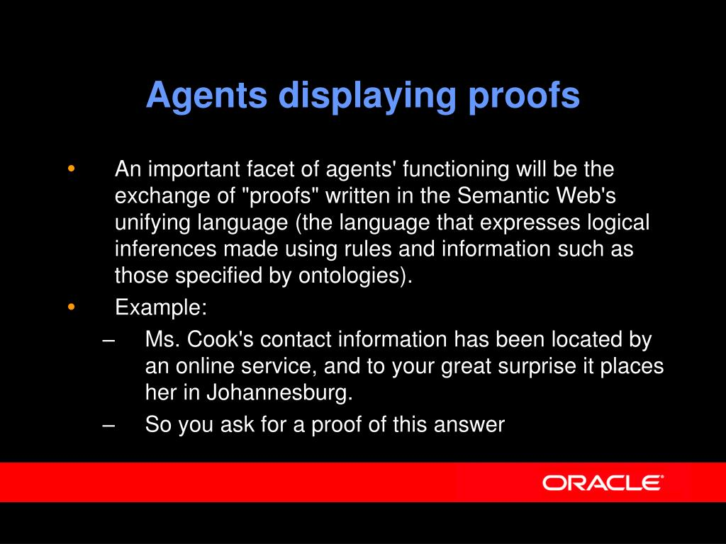Agents displaying proofs