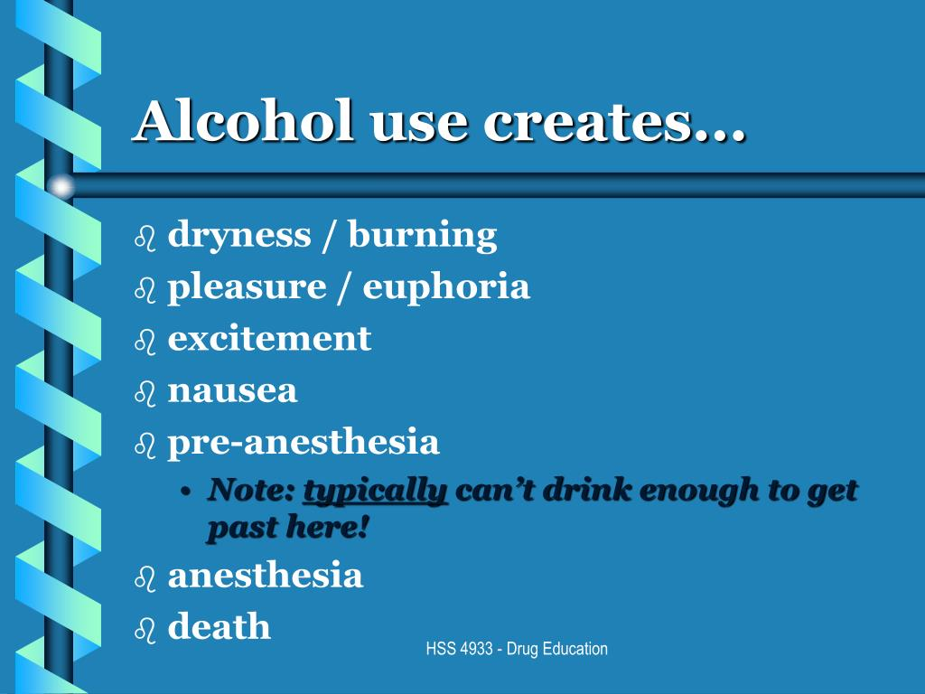 Alcohol use creates...