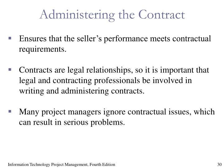Administering the Contract