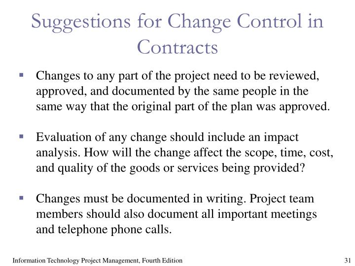 Suggestions for Change Control in Contracts