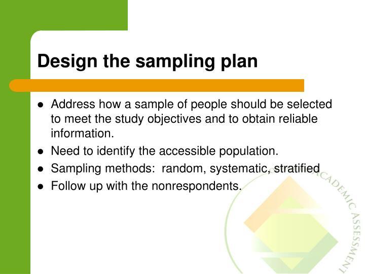 Design the sampling plan