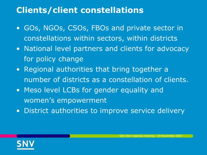 Clients/client constellations