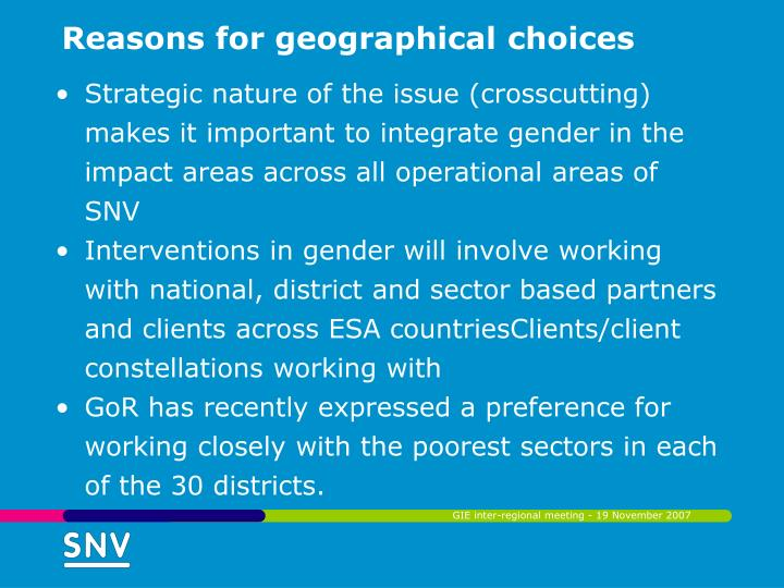 Reasons for geographical choices