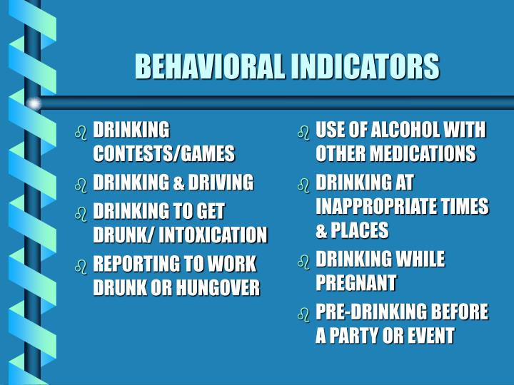 Behavioral indicators