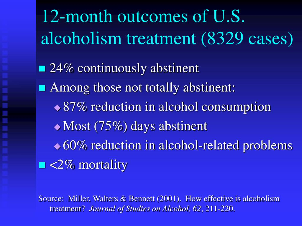 12-month outcomes of U.S. alcoholism treatment (8329 cases)