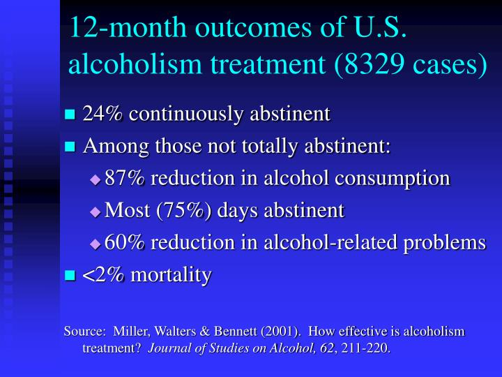 12 month outcomes of u s alcoholism treatment 8329 cases