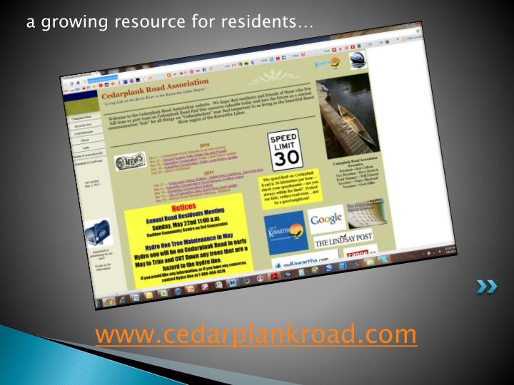 a growing resource for residents…