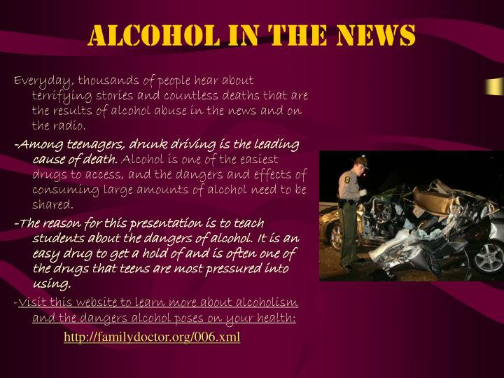 Alcohol in the news