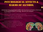 psychological affects harms of alcohol