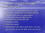 examples of helps the car book can give