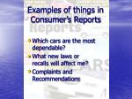 examples of things in consumer s reports