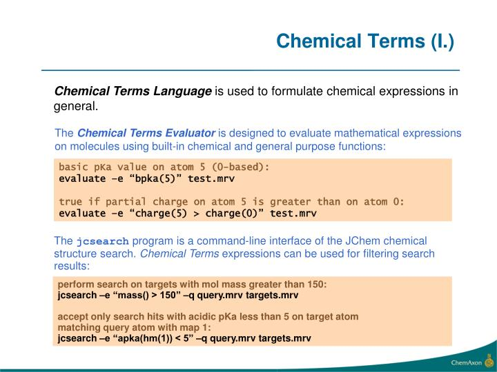 Chemical Terms (I.)