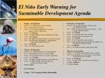 el ni o early warning for sustainable development agenda