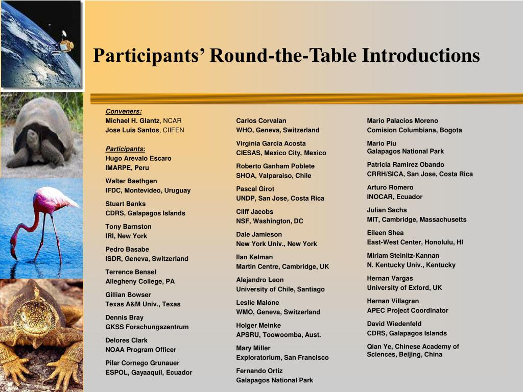 Participants' Round-the-Table Introductions
