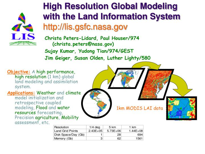 High resolution global modeling with the land information system http lis gsfc nasa gov