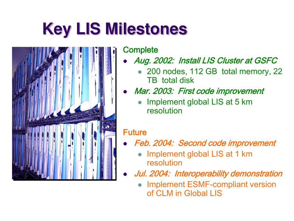 Key LIS Milestones