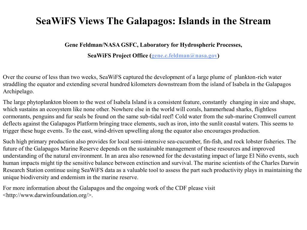 SeaWiFS Views The Galapagos: Islands in the Stream