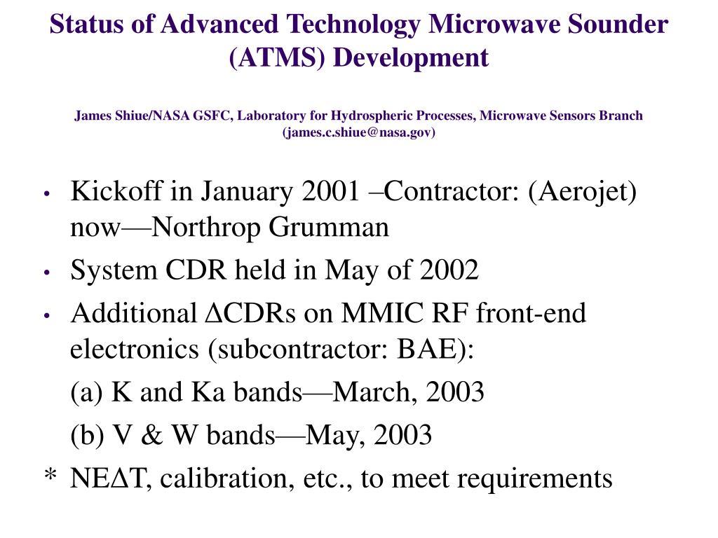 Status of Advanced Technology Microwave Sounder (ATMS) Development
