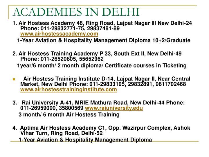 ACADEMIES IN DELHI