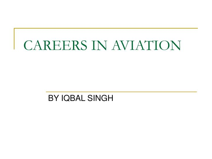 Careers in aviation