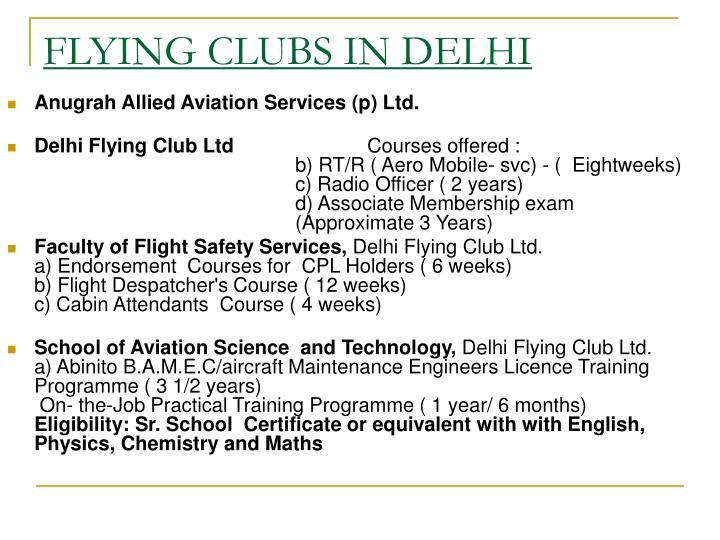 FLYING CLUBS IN DELHI