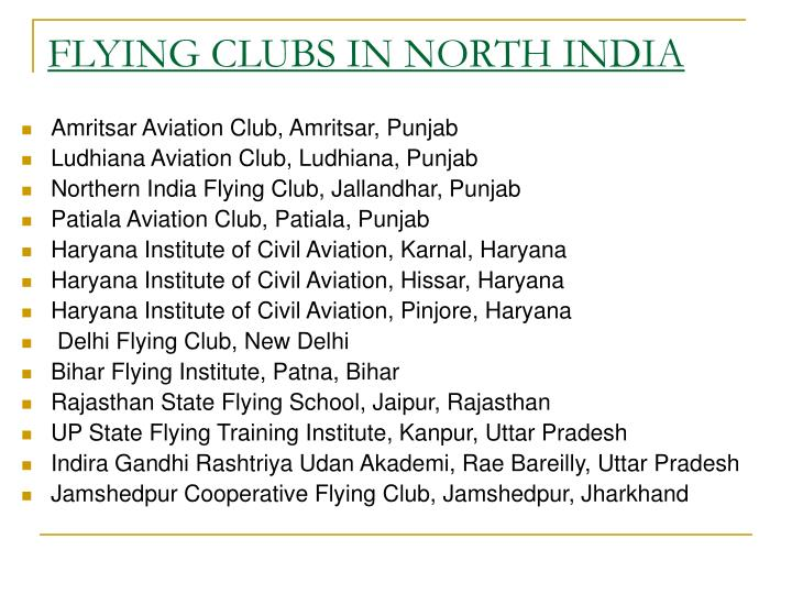 FLYING CLUBS IN NORTH INDIA