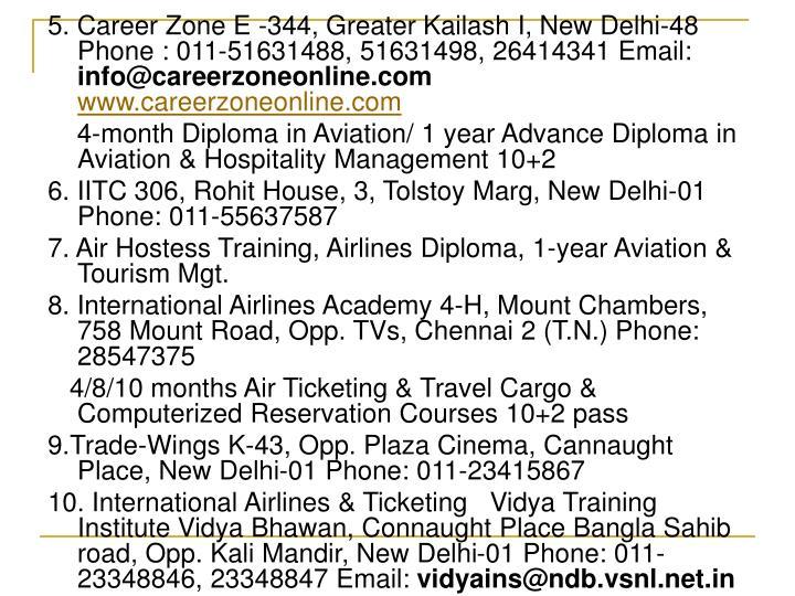 5. Career Zone E -344, Greater Kailash I, New Delhi-48 Phone : 011-51631488, 51631498, 26414341 Email: