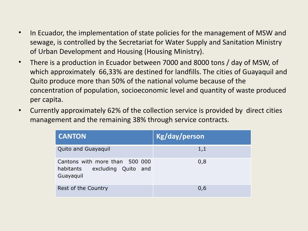 In Ecuador, the implementation of state policies for the management of MSW and sewage, is controlled by the Secretariat for Water Supply and Sanitation Ministry of Urban Development and Housing (Housing Ministry).