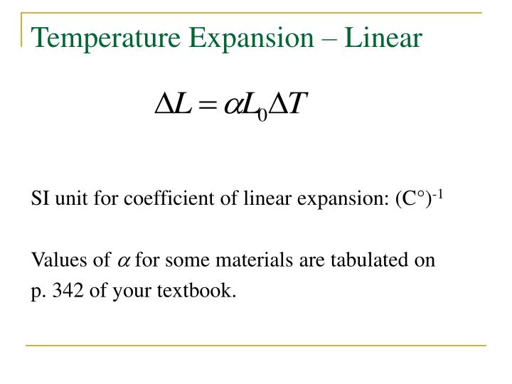 Temperature Expansion – Linear