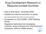 drug development research in resource limited countries
