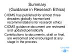 summary guidance in research ethics