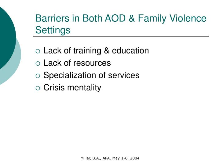 Barriers in Both AOD & Family Violence Settings