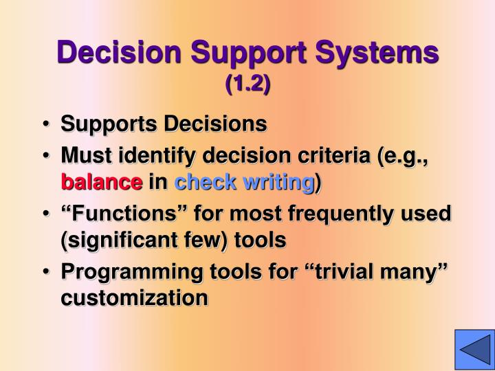 Decision support systems 1 2