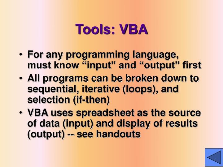 Tools: VBA