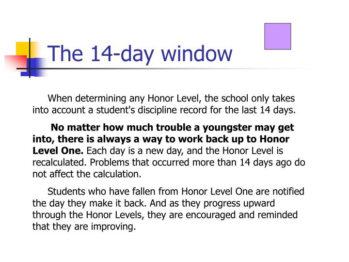 The 14-day window