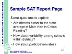 sample sat report page