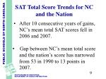 sat total score trends for nc and the nation