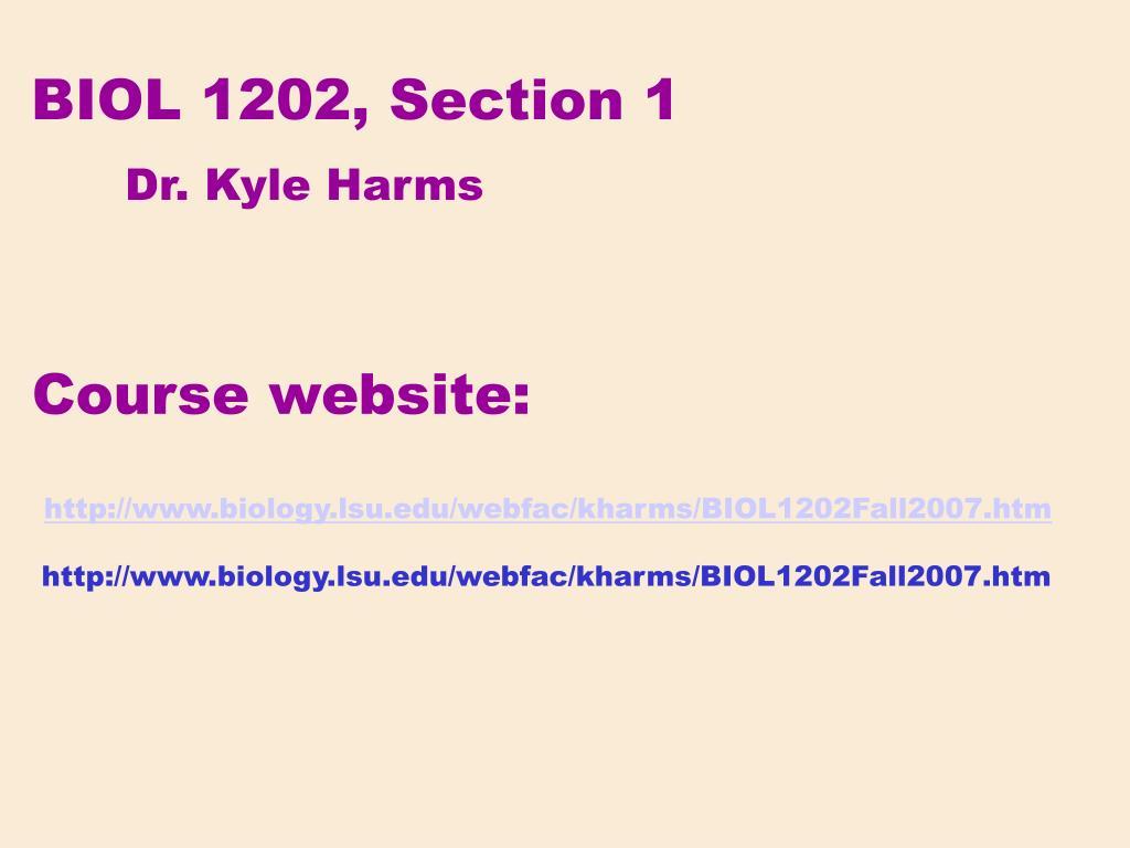 BIOL 1202, Section 1